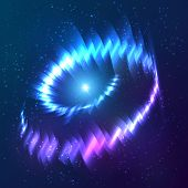 Blue shining cosmic neon light twirl