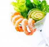 Shrimp or Prawn Cocktail. Isolated on a White Background. Healthy Shrimp Salad with mixed greens and