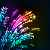 Rainbow colors neon vector fireworks