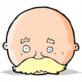 cartoon bald man with mustache