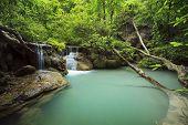 Lime Stone Water Fall In Arawan Water Fall National Park Kanchanaburi Thailand Use For Natural Backg