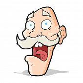 cartoon frightened old man