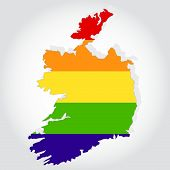 Rainbow Flag In Contour Of Ireland