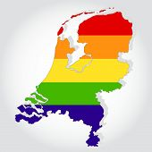 Rainbow flag in contour of Netherland