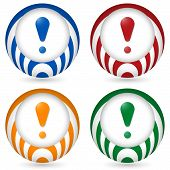 Set Of Four Icon With Exclamation Mark
