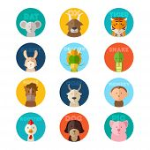 picture of chinese zodiac animals  - A vector illustration of Chinese zodiac animal icons - JPG