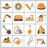 construction management icons, orange color theme