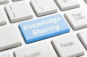 Blue knowledge sharing key on keyboard