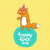 Happy Birthday card with hipster fox.