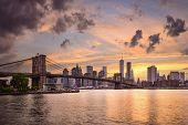 New York City, USA skyline at sunset.