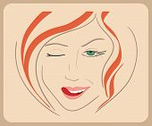 stock photo of eye-wink  - Handdrawn woman face winks with red hair and green eyes - JPG