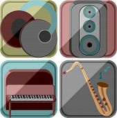 Icons in a retro style with the image of musical instruments and the equipment