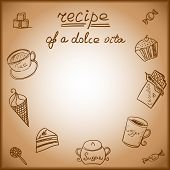 pic of recipe card  - Card with the image of a sweet food with possibility of placement of the text  - JPG