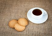 Coffee With Cookies On Woven Bag