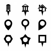 Landmark and Showplace Symbol Map Pointer Mark Icons Vector Template Illustration