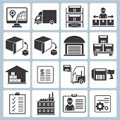 stock photo of ship  - set of 16 warehouse management icons - JPG