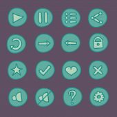 Flat game Ui buttons set in doodle style