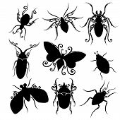 Vector Set of Insects. Stencils Isolated