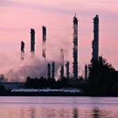 Chemical Plant Stacks Silhouette