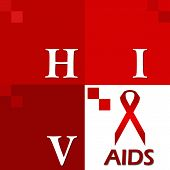 HIV AIDS Red Four Blocks