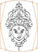 picture of durga  - Calligraphic Durga - JPG