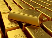 picture of treasure  - 3d render of fine gold bars background - JPG
