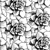 Vintage black and white floral seamless pattern