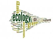 High resolution concept or conceptual abstract 3D green ecology and conservation word cloud text on