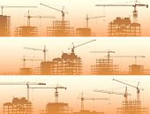 Horizontal Banner Of Construction Site With Cranes And Building In Orange Smog.