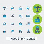 industry, business, management vector set of colorful flat icons, signs, design elements for mobile