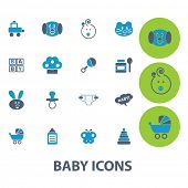 baby, toys, children, games vector set of colorful flat icons, signs, design elements for mobile and