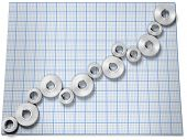Business company growth chart as row of gears on graph paper