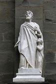 RIOMAGGIORE, ITALY - MAY 02, 2014: Saint Matthew the Evangelist statue, Saint John the Baptist churc