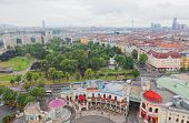 View of Vienna from big wheel height in park Prater.