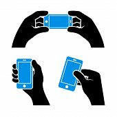 Set of Hands Holding Smart Phone, Vector