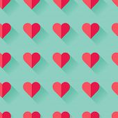 Pink abstract Valentine's heart seamless pattern. Vector illustration.