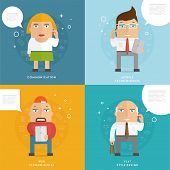 Set of Flat Design People with Mobile Phones. Communication Concept. Social Network Idea. Speech Bub