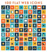 Collection of Flat Design Web Icons. Technology, Mobile Communication, Business and Marketing Elemen