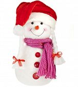 happy snowman in knitted scarf and claus cup,  isolated on white background