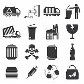 pic of waste management  - set of 16 waste management icons in white background - JPG