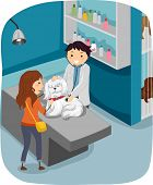 Illustration of a Woman Taking Her Dog to the Veterinarian for a Check Up