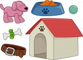 Illustration Featuring Different Elements Typically Associated with Dogs