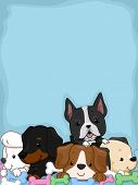Background Illustration Featuring Cute and Adorable Puppies Lying on a Pile of Chew Toys