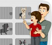 Illustration of a Father Taking His Kid to a Pet Shop to See the Dogs