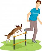 Illustration of a Man Testing His Dog's Agility with a Jump Bar