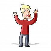 cartoon frightened man