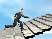 Businessman climbing stairs - 3D render