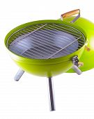 picture of braai  - Green portable BBQ isolated over white background - JPG