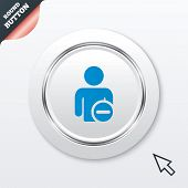 Delete user sign icon. Remove friend symbol.