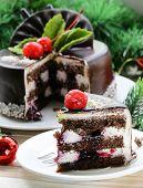 delicious Christmas chocolate cake on festive table